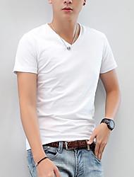 The summer youth men's cotton T-shirt V pure Korean slim young man often a all-match V collar T-shirt