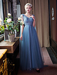 Formal Evening Dress-Sky Blue Sheath/Column V-neck Floor-length Lace / Tulle