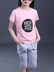 Girl's Blue / Pink Clothing Set,Floral Cotton Summer