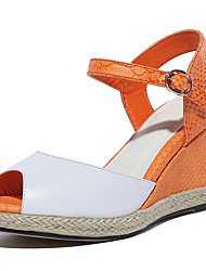 Women's Shoes Cowhide / Leather Wedge Heel Wedges / Peep Toe Sandals Party & Evening / Dress / Casual Red / Orange