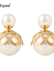 D Exceed Newest Fashion Jewelry Earring Double Side Pearl Earrings Big Stud Earrings For Women Girl
