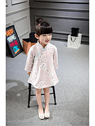 Kid Princess Series Costumes Long Sleeve Cute and Cuddly Costumes Dress Cheongsam Pink