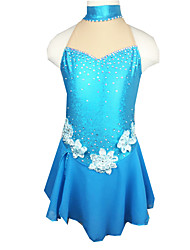Robe de Patinage Femme Sans manche Patinage Jupes & Robes Robe de patinage artistique Elasthanne Bleu Tenue de PatinageVêtements de Plein