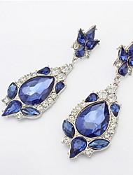 Fashion Women Rhinestone Filled Dangle Earrings Simulated Blue Sapphire Charms Flower Piercing Drop Earrings