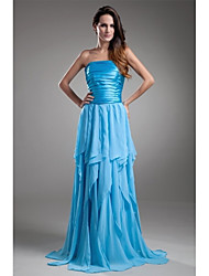 A-Line Strapless Floor Length Chiffon Charmeuse Prom Formal Evening Dress with Pleats