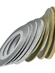 1pcs 20m um milímetro da arte do prego de ouro / prata do brilho da listra tape Nail Art Decoração nc275