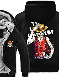 Inspiré par One Piece Monkey D. Luffy Manga Costumes de Cosplay Cosplay à Capuche Imprimé Noir Manche Longues Haut Pour Masculin
