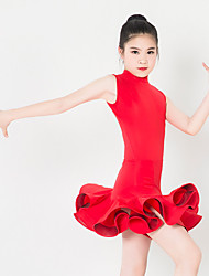 Kids' Dancewear Dresses Children's Performance Spandex Polyester Ruffles 1 Piece Sleeveless Dress