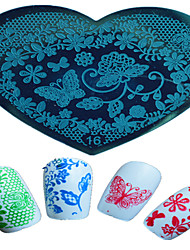 1pcs Nail Art Heart-shaped Stamping Template  Beautiful Butterfly Flower Animal Image Design Nail Art Tools 16-20