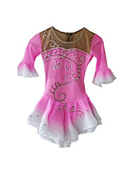 Robe de Patinage Femme Demi-manche Patinage Jupes & Robes / Robes Robe de patinage artistique Elasthanne Rose dragée Tenue de Patinage