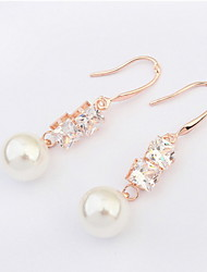 High Quality Rhinestone White Pink Imitation Round Pearl Pierced Ear Stud Earrings Women Fashion Crystal Jewelry
