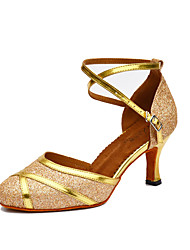 Women's Dance Shoes Salsa Leatherette / Sparkling Glitter Flared Heel Black / White / Gold