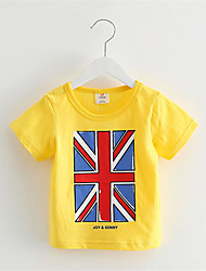 Girls Boys T-Shirt Children's Clothes Rice Word Flag Boys And Girls Short Sleeved T-Shirt Casual T Shirt