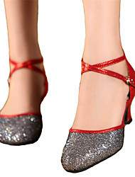 Women's Dance Shoes Latin Satin Chunky Heel Blue / Red