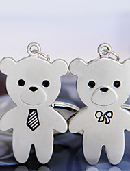 A Pair Double Lovely Teddy Bear Metal Couples Lover New Charm Pendant Key Ring Chain Personality Birthday Gift