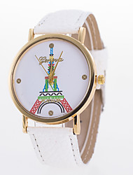 New European Style Fashion Colorful Eiffel Tower Leather Quartz Wrist Watch Cool Watches Unique Watches