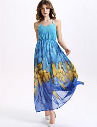 Women's Sexy / Boho Print Swing Dress,Strap Maxi Silk / Polyester