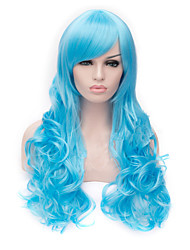 European Style Long Curly Blue Cosplay Wigs