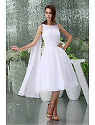 Knee-length Chiffon Bridesmaid Dress A-line Jewel with Draping