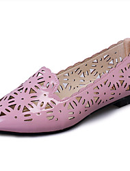 Women's Shoes PU Flat Heel Pointed Toe Flats Outdoor / Office & Career / Dress / Casual Pink / White / Silver