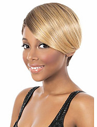Capless Women 8 inch Short Straight Synthetic Hair Wigs Beige Brown with Free Hair Net