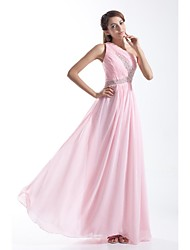 Formal Evening Dress A-line One Shoulder Floor-length Chiffon with Beading / Side Draping