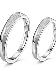 2pcs Sterling Silver Ring Frosted Couple Rings Adjustable Fashion Jewelry for Couple Wedding Engagement Ring