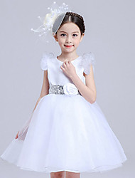 Girl's Cotton Summer Silvery Rose Belt Lace Dress