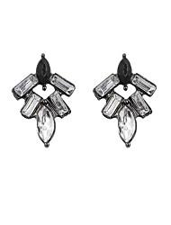 Brincos Curtos Brincos Compridos Jóias de Luxo Acrílico Strass imitação de diamante Liga Preto Jóias Para 2pçs