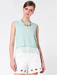 Goelia® Femme Col Arrondi Sans Manches Pull & Cardigan Vert-164W5G030