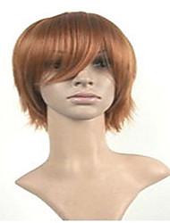 perruques de perruque cosplay élégant naturelle perruques homme Châtain Courts animés perruques de cheveux synthétiques droites