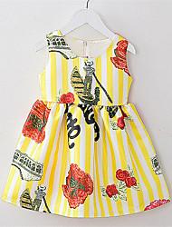 Girl's Blue / Yellow Dress,Print Cotton / Polyester All Seasons