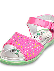 Girl's Summer Comfort / Open Toe / Sandals Canvas / PU Dress / Casual / Party & Evening Flat Heel Sparkling Glitter / Magic Tape Pink