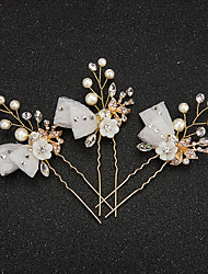 Women's / Flower Girl's Lace / Rhinestone /Pearl / Resin Headpiece-Wedding / Special Occasion Hair Pin 2 Pieces
