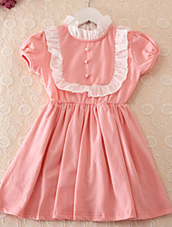 Girl's Black / Pink Dress Cotton / Polyester Summer