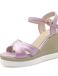 Women's Shoes Leatherette Wedge Heel Wedges Sandals Wedding / Party & Evening / Dress / Casual Pink / Purple