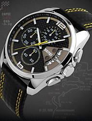 SKMEI® Men's Fashion Sport Racing Design Leather Quartz Chrono Watch Cool Watch Unique Watch