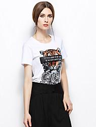 Zishangbaili® Femme Col Arrondi Manche Courtes Shirt et Chemisier Blanc-TX1502