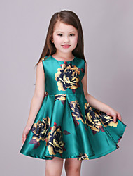 Girl's Green Dress,Floral Polyester Summer