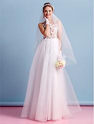 Lanting sposa una linea di abito da sposa-pavimento-lunghezza tulle gioiello
