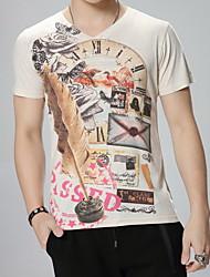 Print-Informeel / Werk / Formeel / Sport-Heren-Katoen / Modaal-T-shirt-Korte mouw Beige