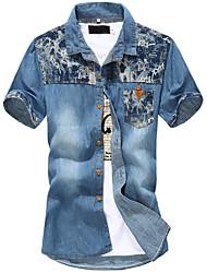 Men's Short Sleeve Shirt,Cotton / Acrylic Casual / Sport Print 916134
