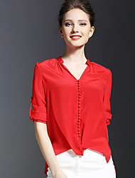 Women's Solid Red / Green Blouse,Shirt Collar Long Sleeve