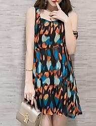 Women's Beach Cute Loose Dress,Print Strap Above Knee Sleeveless Black / Green / Orange Nylon Summer