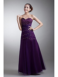 Formal Evening Dress Fit & Flare Sweetheart Floor-length Tulle with Beading / Side Draping