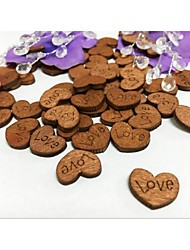 100PCS Rustic Wooden Love Button Without Hole Mini Heart Wedding Party Table Confetti Reception Table Decoration