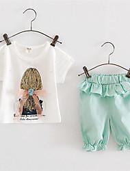 Girl's Green / Pink Clothing Set,Print Cotton Summer