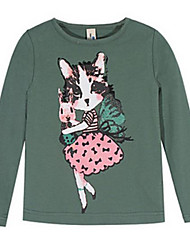 Girl's Green Tee Cotton Winter