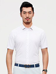 China famous Seven brand Men's Short Sleeve Shirt cotton casual man shirt Polka Dot design