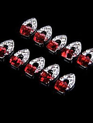 Abstract Mental Crystal Square Red Nail Jewelry